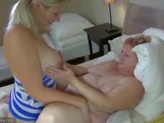 bigtits, masturbate, granny
