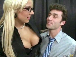 glasses, skirt, big tits