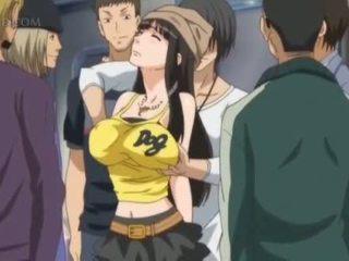 Dögös anime szex szolga gets mellbimbók pinched -ban nyilvános