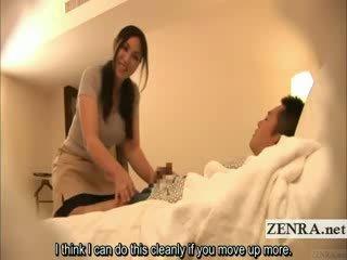 Subtitled Japanese milf masseuse indecent hotel massage