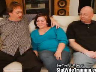 Nhút nhát timid vợ janie gets trained đến xin vui lòng một platoon
