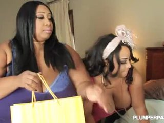 2 Busty Black BBW Lesbians Cotton Candi and Shanice Richards