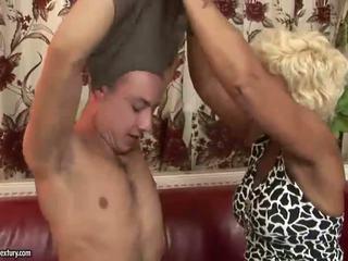 Hot granny enjoys hard sex with a boy