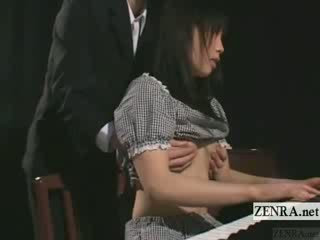 Subtitled lithe japanese keyboardist bizarre vibrator play