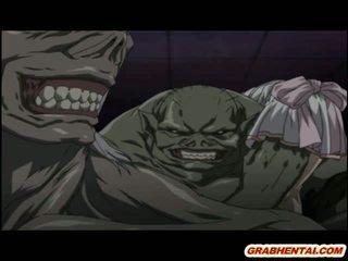 Hentai noķerti līdz tentacles un monsters brutally fucked