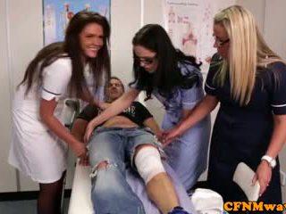 Nurses adele and emma tugging jago hard