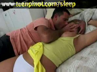 Blonde babe fucked while sleeping in a hotel room