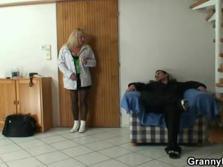 Lad picks up a granny and bangs her