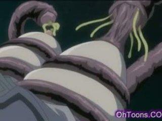 Heet jong schoolmeisje getting hard geneukt door tentakel monster