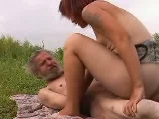 Hairy homeless oldman fucking horny girl cunt