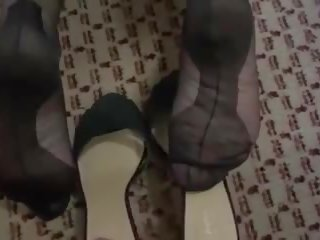 mature, nylon, footjob