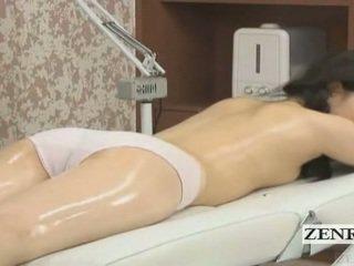 Subtitled giapponese studentessa primo sensuale olio massaggio