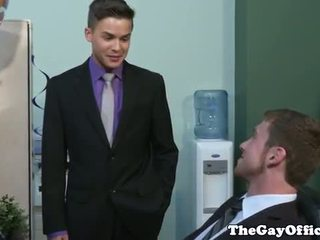 Gay office tw-nk works on his sucking skills