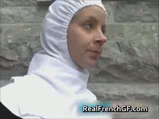 Slutty french nun fucked outside porno