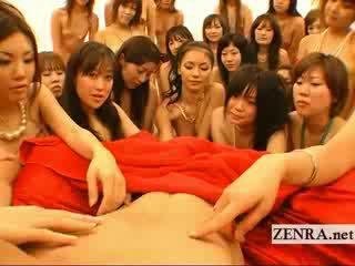Liels pov japānieši harem orgija ar handjobs un skūpstošie