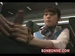 Stewardess gives handjob blowjob and fucked