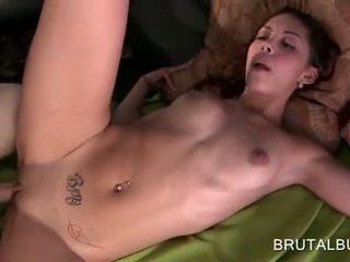Splendid amateur slut taking hardcore shag and jizz