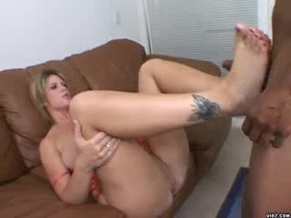 Hot cum explodes on Lisa Sparxxx's Pretty feet