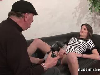 Casting couch of a pretty small titted french brunette