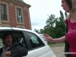 Francesa milf difícil banged e jizzed em tetas por um taxi driver