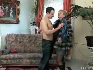 Boy fucks naughty fat granny on the couch