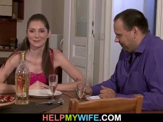 Fat husband pays the pizza guy tot fuck his wife