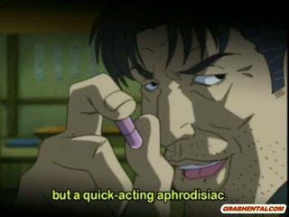 Cutie anime mišrūs studentai gets squeezed jos papai ir pakliuvom iki pervert