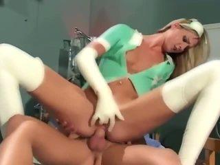 Enfermeira em látex thigh highs a foder em o