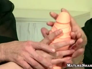 three Horny Grannies playing with new ...