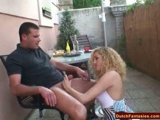 Nederlands blondine ruw bj en facial