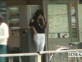 Subtitled japans av ster publiek station masturbation