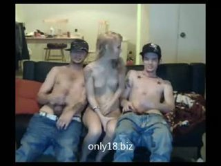 Horny Blonde Gets To Fuck Twins On Her Live Show