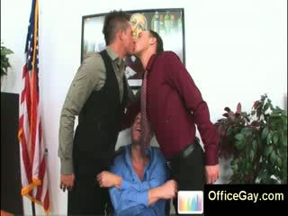 3 sexy gay studs at the office kissing