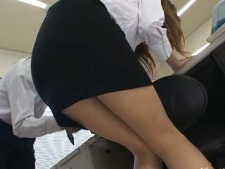 Oriental secretary from oriental with booty milk