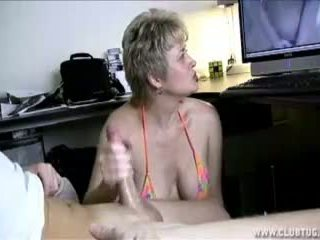 Milf Helps Lucky Guy S Cock Spurt With...