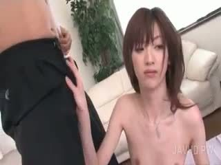 Naked Asian Bitch Eating Two Jizz Loaded Dicks In Close-up