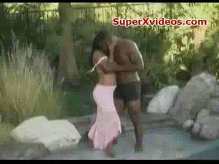 Ebony couple outdoor sex