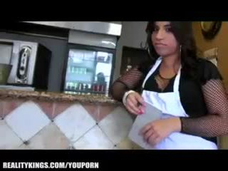 Sexy Latina waitress has a thick Spanish ass and a love for cash