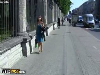 Outdoor Bump For A Blonde In Pantyhose