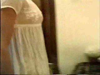 Roxy - white nightie masturbating to a hot fuck