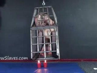 Caged blondīne female slaves whipping un hanging