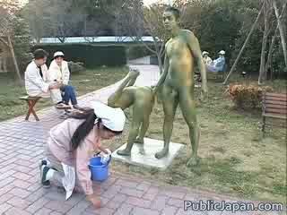 Asiática modelo es un statue getting algunos sexo