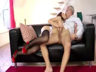 Stockinged sexy babe sucks