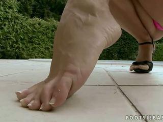brunette, high heels, foot fetish