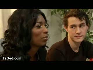 Ebony ts fucks bdsm white dude in mouth and asshole