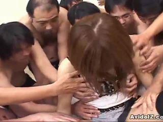 Japanisch mieze touched von viele men uncensored