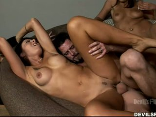 brunette, you group sex, kissing check