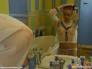 Shaved Teen Pussy Washroom Time Fun