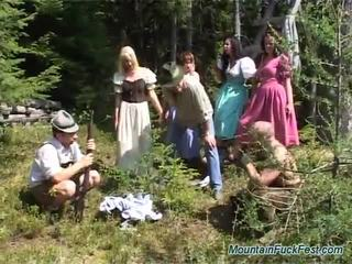 Foresters And Easy Dolls Having Mad Group Sex Inside Open Air