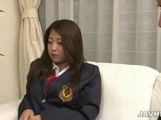 Japanese schoolgirl toying and sucking